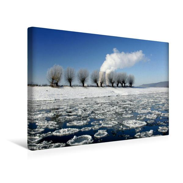 Premium Textil-Leinwand 45 cm x 30 cm quer, Eisgang auf der Weser bei Grohnde   Wandbild, Bild auf Keilrahmen, Fertigbild auf echter Leinwand, Leinwanddruck - Coverbild