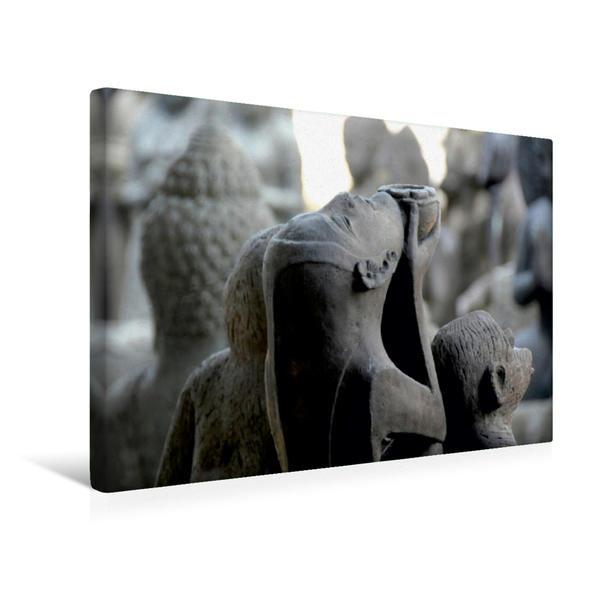 Premium Textil-Leinwand 45 cm x 30 cm quer, Bali, Statuen von Göttern und Dämonen | Wandbild, Bild auf Keilrahmen, Fertigbild auf echter Leinwand, Leinwanddruck - Coverbild