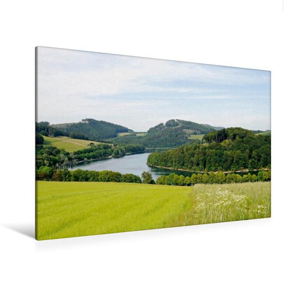 Premium Textil-Leinwand 120 cm x 80 cm quer, Hennesee | Wandbild, Bild auf Keilrahmen, Fertigbild auf echter Leinwand, Leinwanddruck - Coverbild