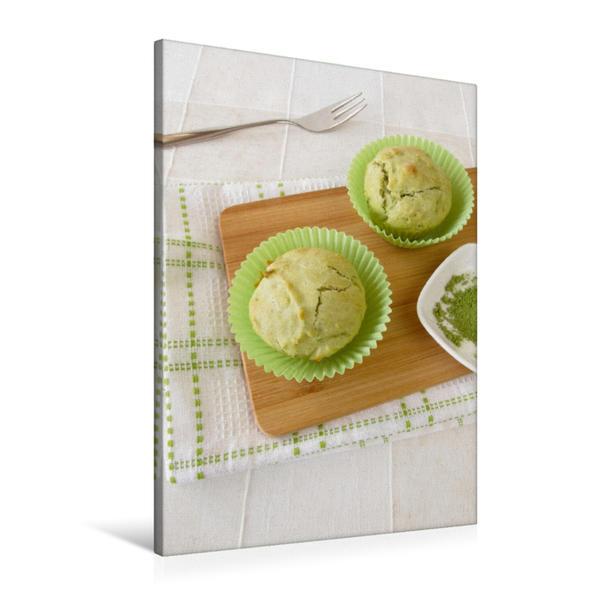 Premium Textil-Leinwand 60 cm x 90 cm hoch, Matcha Muffins | Wandbild, Bild auf Keilrahmen, Fertigbild auf echter Leinwand, Leinwanddruck - Coverbild