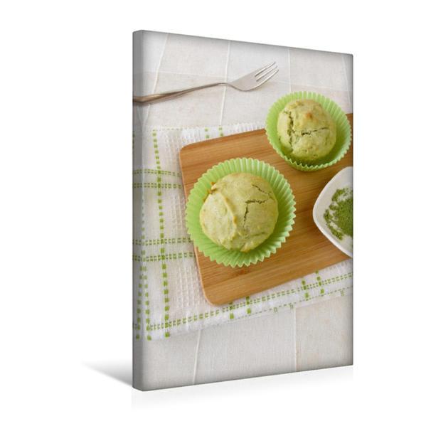 Premium Textil-Leinwand 30 cm x 45 cm hoch, Matcha Muffins | Wandbild, Bild auf Keilrahmen, Fertigbild auf echter Leinwand, Leinwanddruck - Coverbild