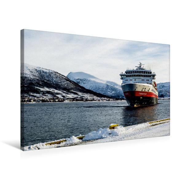 Premium Textil-Leinwand 75 cm x 50 cm quer, MS Finnmark in Sortland | Wandbild, Bild auf Keilrahmen, Fertigbild auf echter Leinwand, Leinwanddruck - Coverbild