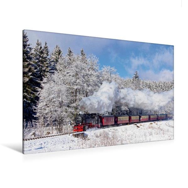 Premium Textil-Leinwand 120 cm x 80 cm quer, Brockenbahn, Harz | Wandbild, Bild auf Keilrahmen, Fertigbild auf echter Leinwand, Leinwanddruck - Coverbild