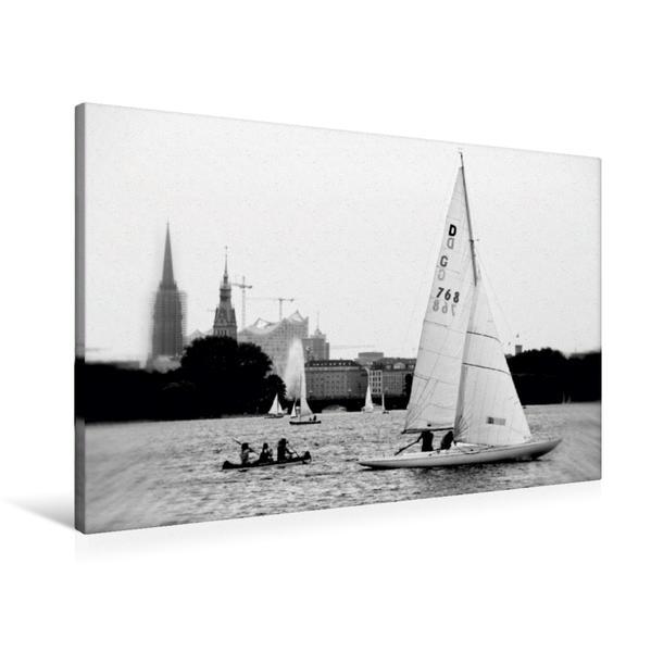 Premium Textil-Leinwand 90 cm x 60 cm quer, Hamburg Außenalster   Wandbild, Bild auf Keilrahmen, Fertigbild auf echter Leinwand, Leinwanddruck - Coverbild