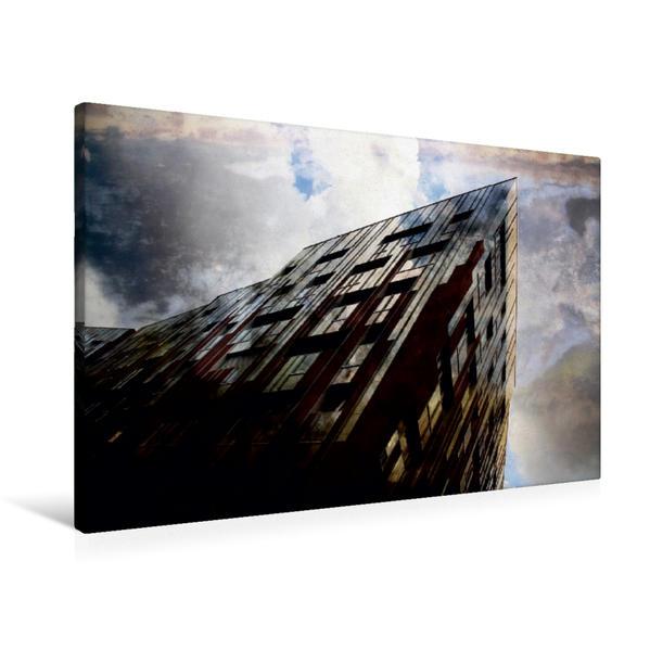 Premium Textil-Leinwand 90 cm x 60 cm quer, Hamburg Hafencity | Wandbild, Bild auf Keilrahmen, Fertigbild auf echter Leinwand, Leinwanddruck - Coverbild