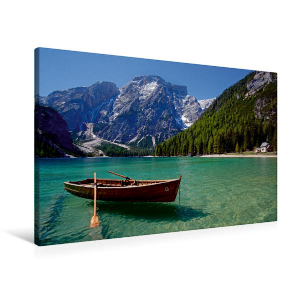Premium Textil-Leinwand 90 cm x 60 cm quer, Pragser Wildsee | Wandbild, Bild auf Keilrahmen, Fertigbild auf echter Leinwand, Leinwanddruck - Coverbild