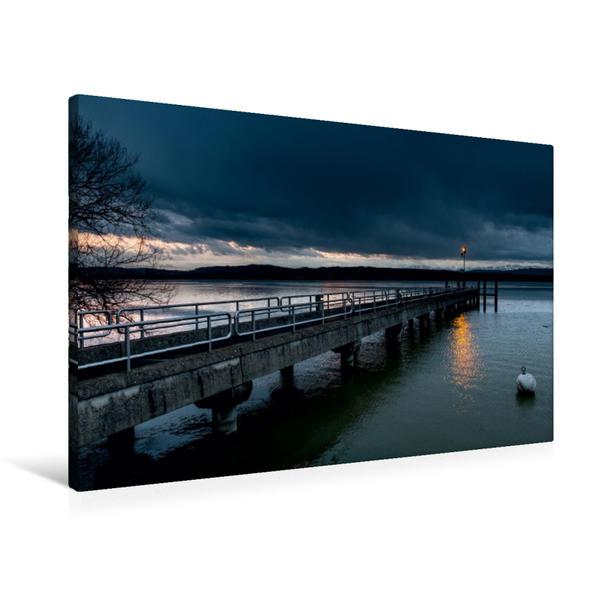 Premium Textil-Leinwand 90 cm x 60 cm quer, Abendstimmung am Murtensee | Wandbild, Bild auf Keilrahmen, Fertigbild auf echter Leinwand, Leinwanddruck - Coverbild