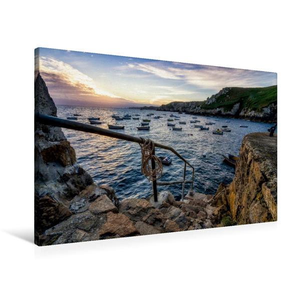 Premium Textil-Leinwand 90 cm x 60 cm quer, Fischerboote | Wandbild, Bild auf Keilrahmen, Fertigbild auf echter Leinwand, Leinwanddruck - Coverbild