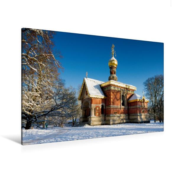 Premium Textil-Leinwand 120 cm x 80 cm quer, Russische Kirche im Winter | Wandbild, Bild auf Keilrahmen, Fertigbild auf echter Leinwand, Leinwanddruck - Coverbild