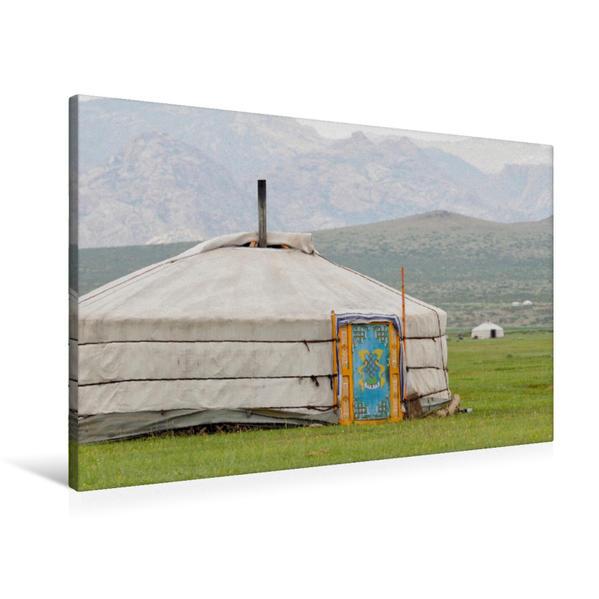 Premium Textil-Leinwand 90 cm x 60 cm quer, Jurte | Wandbild, Bild auf Keilrahmen, Fertigbild auf echter Leinwand, Leinwanddruck - Coverbild