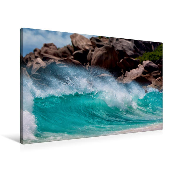 Premium Textil-Leinwand 90 cm x 60 cm quer, Brandung   Wandbild, Bild auf Keilrahmen, Fertigbild auf echter Leinwand, Leinwanddruck - Coverbild