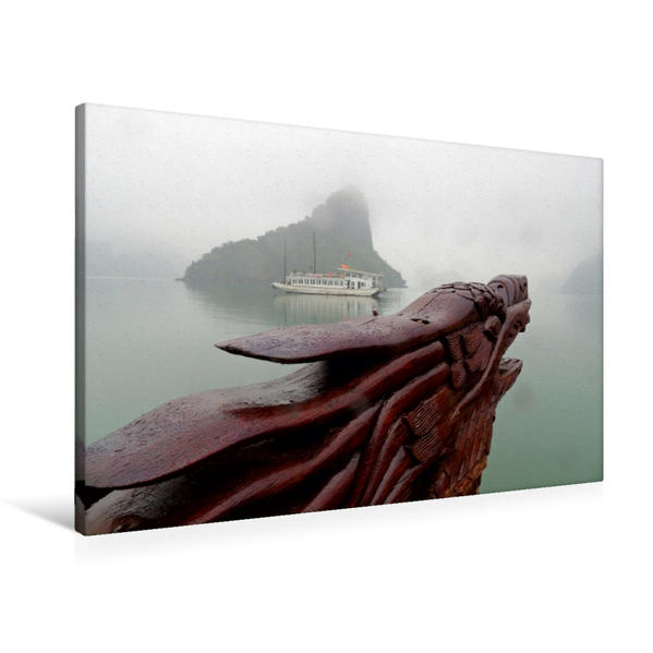 Premium Textil-Leinwand 90 cm x 60 cm quer, Halong-Bucht im Nebel | Wandbild, Bild auf Keilrahmen, Fertigbild auf echter Leinwand, Leinwanddruck - Coverbild
