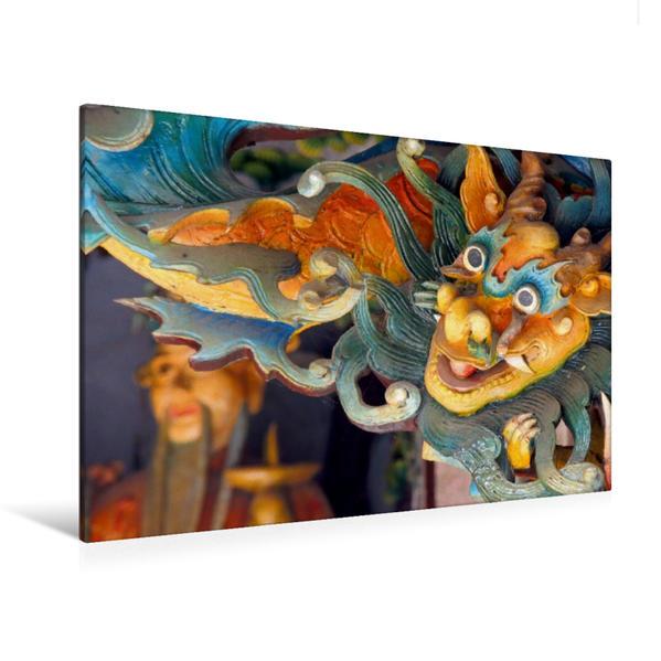 Premium Textil-Leinwand 120 cm x 80 cm quer, Detail Versammlunghaus, Hoi An | Wandbild, Bild auf Keilrahmen, Fertigbild auf echter Leinwand, Leinwanddruck - Coverbild