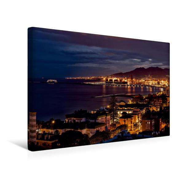 Premium Textil-Leinwand 45 cm x 30 cm quer, Malaga @ night | Wandbild, Bild auf Keilrahmen, Fertigbild auf echter Leinwand, Leinwanddruck - Coverbild