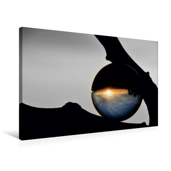 Premium Textil-Leinwand 75 cm x 50 cm quer, Sonnenuntergangskugel | Wandbild, Bild auf Keilrahmen, Fertigbild auf echter Leinwand, Leinwanddruck - Coverbild