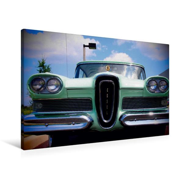Premium Textil-Leinwand 90 cm x 60 cm quer, Retro Auto - Ford Edsel | Wandbild, Bild auf Keilrahmen, Fertigbild auf echter Leinwand, Leinwanddruck - Coverbild