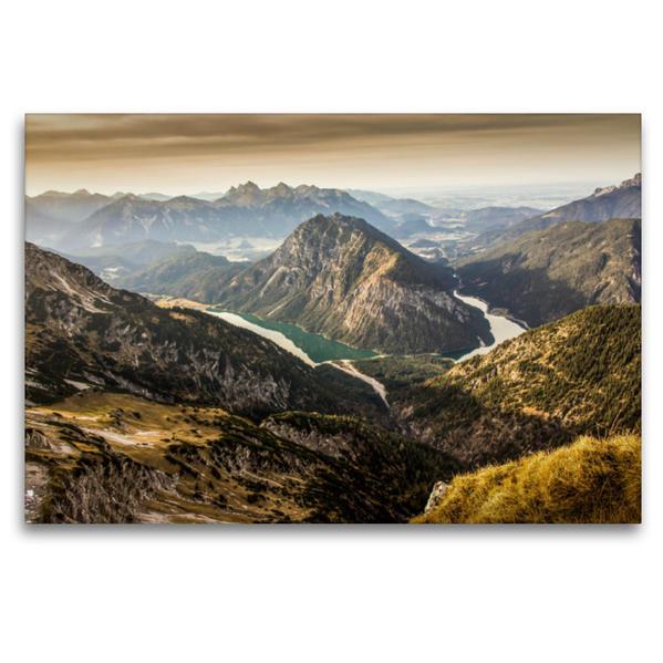 Premium Textil-Leinwand 120 cm x 80 cm quer, Heiterwanger See & Plansee   Wandbild, Bild auf Keilrahmen, Fertigbild auf echter Leinwand, Leinwanddruck - Coverbild