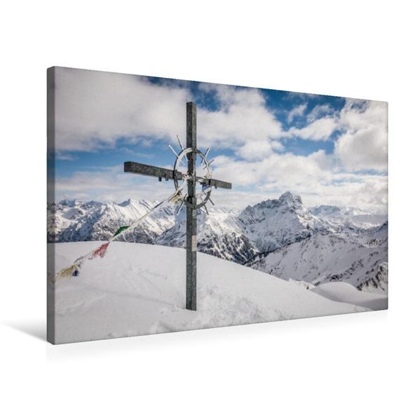 Premium Textil-Leinwand 75 cm x 50 cm quer, Gipfelkreuz Grünhorn - Kleinwalsertal | Wandbild, Bild auf Keilrahmen, Fertigbild auf echter Leinwand, Leinwanddruck - Coverbild