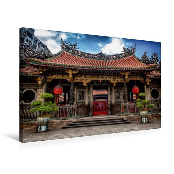 Premium Textil-Leinwand 75 cm x 50 cm quer, Taipeh, Longshan-Tempel | Wandbild, Bild auf Keilrahmen, Fertigbild auf echter Leinwand, Leinwanddruck - Coverbild