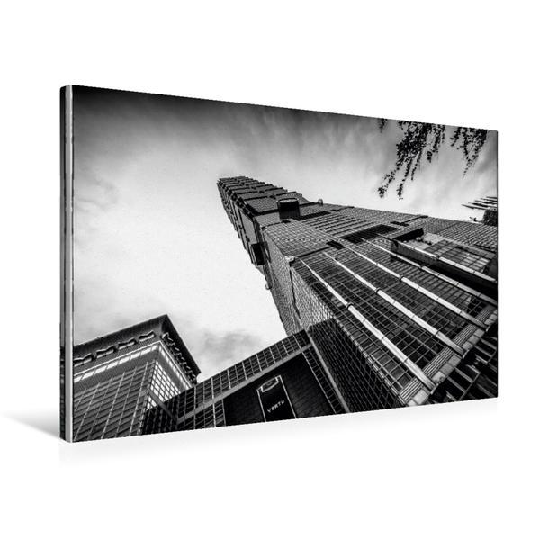 Premium Textil-Leinwand 75 cm x 50 cm quer, Wahrzeichen der Stadt. Taipei 101 | Wandbild, Bild auf Keilrahmen, Fertigbild auf echter Leinwand, Leinwanddruck - Coverbild