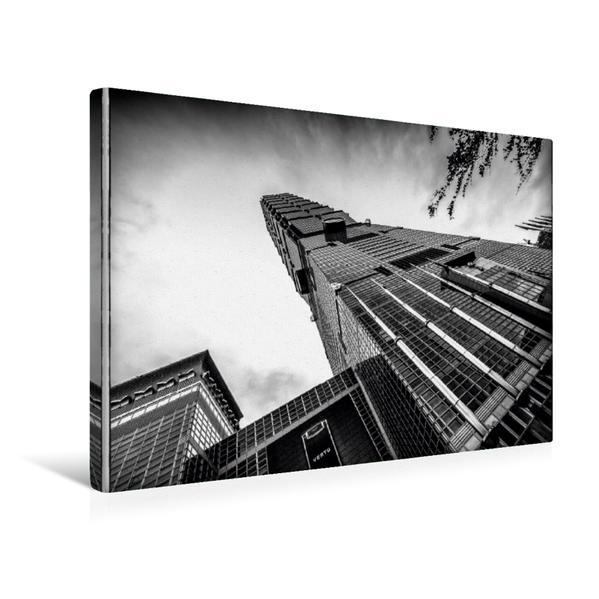 Premium Textil-Leinwand 45 cm x 30 cm quer, Wahrzeichen der Stadt. Taipei 101 | Wandbild, Bild auf Keilrahmen, Fertigbild auf echter Leinwand, Leinwanddruck - Coverbild
