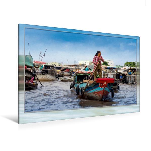 Premium Textil-Leinwand 120 cm x 80 cm quer, Vietnam, Cai Rang - Schwimmender Markt | Wandbild, Bild auf Keilrahmen, Fertigbild auf echter Leinwand, Leinwanddruck - Coverbild