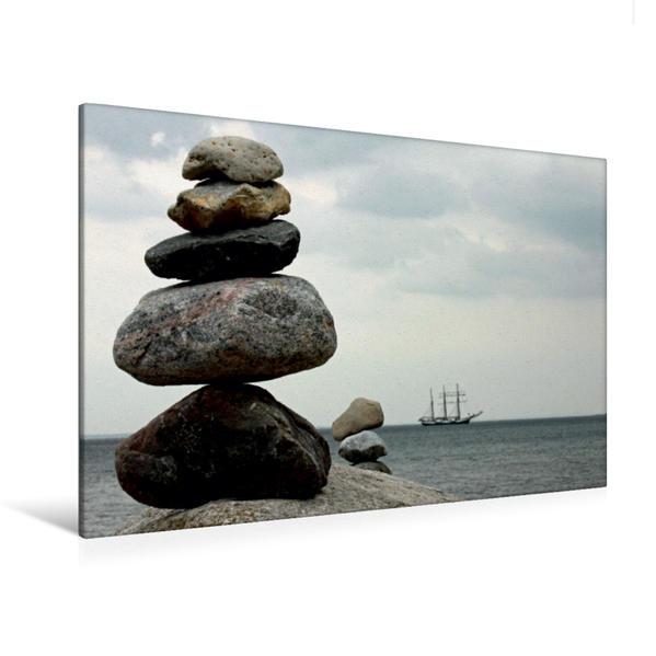 Premium Textil-Leinwand 120 cm x 80 cm quer, Steinmännchen | Wandbild, Bild auf Keilrahmen, Fertigbild auf echter Leinwand, Leinwanddruck - Coverbild