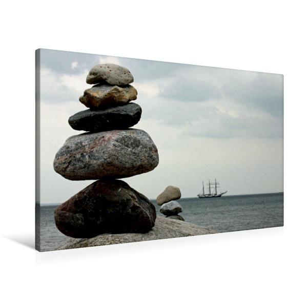 Premium Textil-Leinwand 90 cm x 60 cm quer, Steinmännchen   Wandbild, Bild auf Keilrahmen, Fertigbild auf echter Leinwand, Leinwanddruck - Coverbild