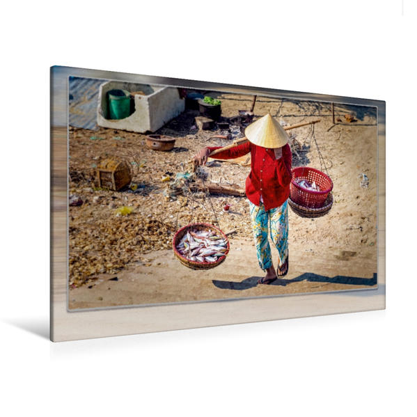 Premium Textil-Leinwand 120 cm x 80 cm quer, Frau in Vietnam, Mui Ne | Wandbild, Bild auf Keilrahmen, Fertigbild auf echter Leinwand, Leinwanddruck - Coverbild