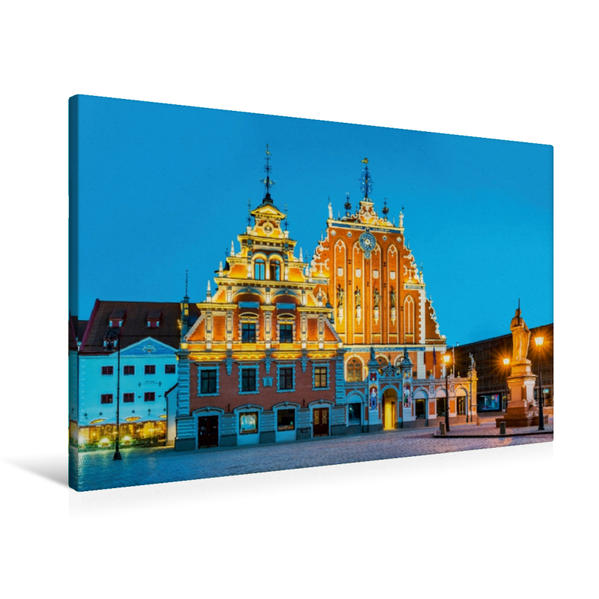 Premium Textil-Leinwand 90 cm x 60 cm quer, Schwarzhäupterhaus bei Nacht   Wandbild, Bild auf Keilrahmen, Fertigbild auf echter Leinwand, Leinwanddruck - Coverbild
