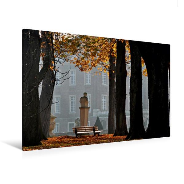 Premium Textil-Leinwand 120 cm x 80 cm quer, Herbst im Park Schloss Nordkirchen | Wandbild, Bild auf Keilrahmen, Fertigbild auf echter Leinwand, Leinwanddruck - Coverbild