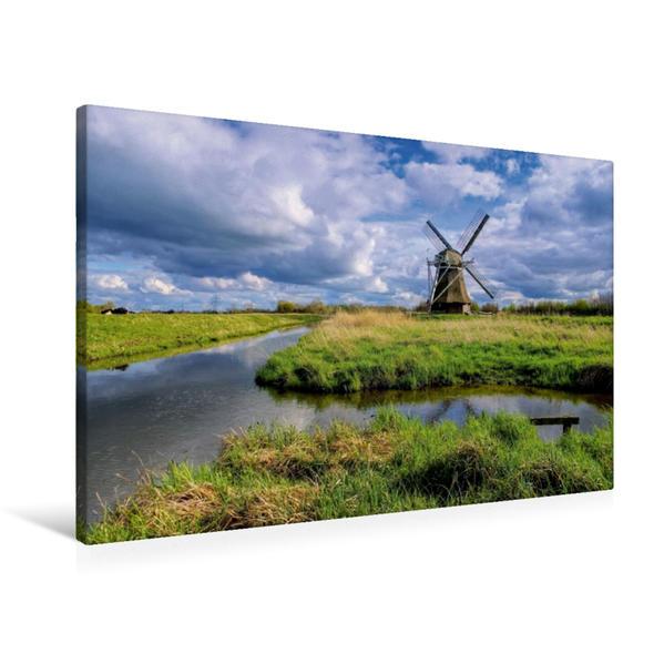 Premium Textil-Leinwand 90 cm x 60 cm quer, Wedelfelder Wasserschöpfmühle | Wandbild, Bild auf Keilrahmen, Fertigbild auf echter Leinwand, Leinwanddruck - Coverbild