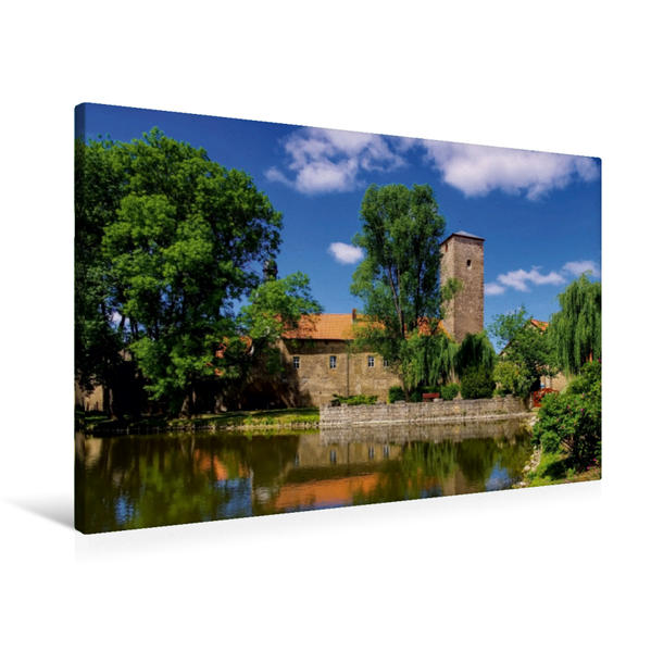 Premium Textil-Leinwand 90 cm x 60 cm quer, Wasserburg Zilly | Wandbild, Bild auf Keilrahmen, Fertigbild auf echter Leinwand, Leinwanddruck - Coverbild