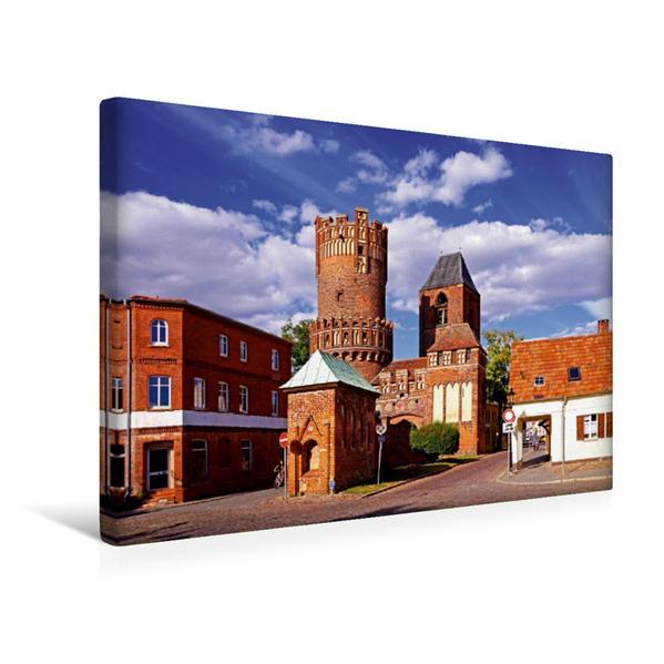 Premium Textil-Leinwand 45 cm x 30 cm quer, Stadttor in Tangermünde | Wandbild, Bild auf Keilrahmen, Fertigbild auf echter Leinwand, Leinwanddruck - Coverbild