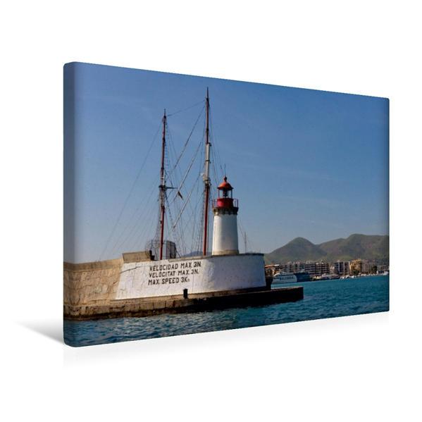 Premium Textil-Leinwand 45 cm x 30 cm quer, Hafeneinfahrt - Eivissa | Wandbild, Bild auf Keilrahmen, Fertigbild auf echter Leinwand, Leinwanddruck - Coverbild
