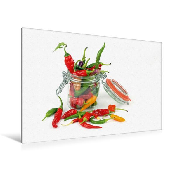 Premium Textil-Leinwand 120 cm x 80 cm quer, Chilis im Glas | Wandbild, Bild auf Keilrahmen, Fertigbild auf echter Leinwand, Leinwanddruck - Coverbild