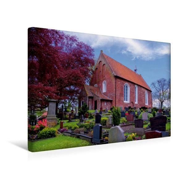 Premium Textil-Leinwand 45 cm x 30 cm quer, St.-Bartholomäus-Kirche, Dornum | Wandbild, Bild auf Keilrahmen, Fertigbild auf echter Leinwand, Leinwanddruck - Coverbild