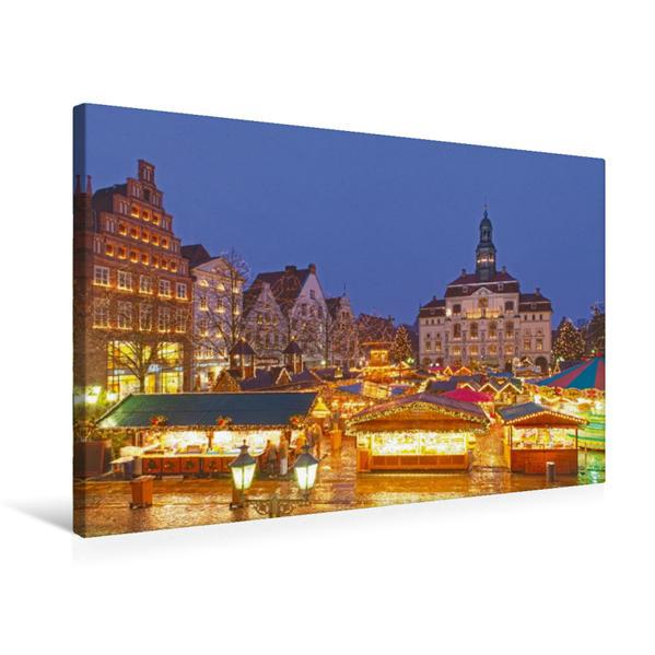 Premium Textil-Leinwand 75 cm x 50 cm quer, Weihnachtsmarkt, Lüneburg   Wandbild, Bild auf Keilrahmen, Fertigbild auf echter Leinwand, Leinwanddruck - Coverbild