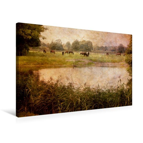 Premium Textil-Leinwand 75 cm x 50 cm quer, Idylle am See   Wandbild, Bild auf Keilrahmen, Fertigbild auf echter Leinwand, Leinwanddruck - Coverbild