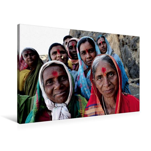 Premium Textil-Leinwand 90 cm x 60 cm quer, Ein Motiv aus dem Kalender Indien Gesichter   Wandbild, Bild auf Keilrahmen, Fertigbild auf echter Leinwand, Leinwanddruck - Coverbild