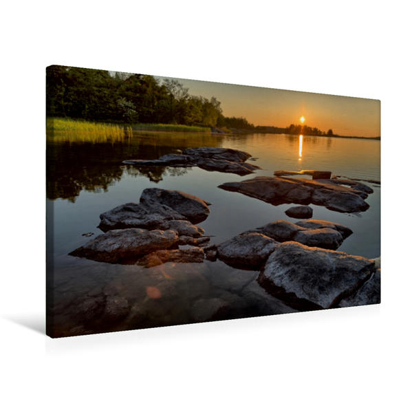 Premium Textil-Leinwand 75 cm x 50 cm quer, Eine Bucht bei Rauma | Wandbild, Bild auf Keilrahmen, Fertigbild auf echter Leinwand, Leinwanddruck - Coverbild