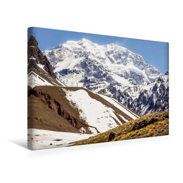 Premium Textil-Leinwand 45 cm x 30 cm quer, Aconcagua - höchster Berg Amerikas | Wandbild, Bild auf Keilrahmen, Fertigbild auf echter Leinwand, Leinwanddruck - Coverbild
