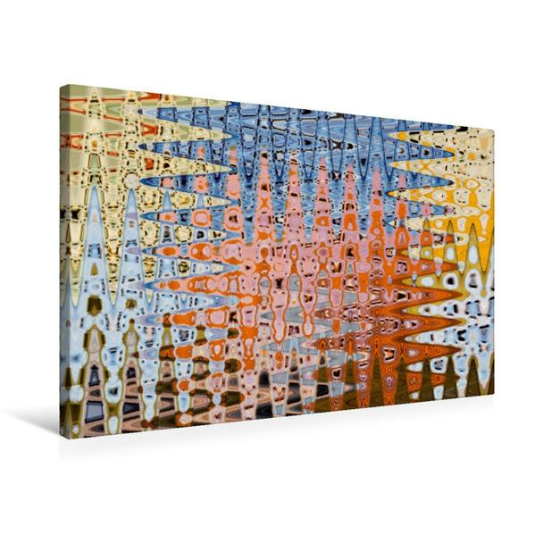 Premium Textil-Leinwand 75 cm x 50 cm quer, Buntes Wellenspiel | Wandbild, Bild auf Keilrahmen, Fertigbild auf echter Leinwand, Leinwanddruck - Coverbild