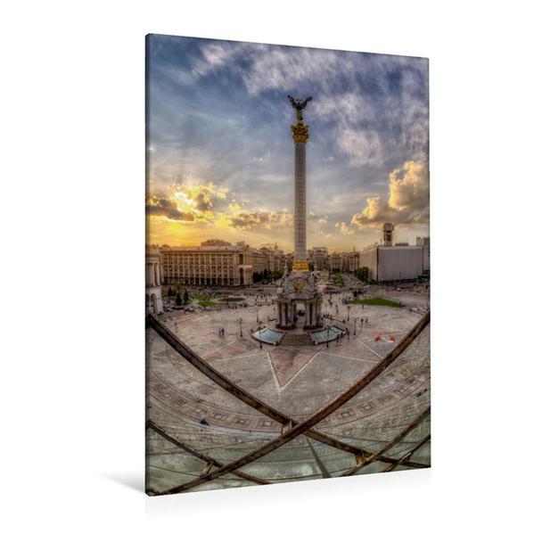 Premium Textil-Leinwand 80 cm x 120 cm  hoch, Kiew Maidan | Wandbild, Bild auf Keilrahmen, Fertigbild auf echter Leinwand, Leinwanddruck - Coverbild