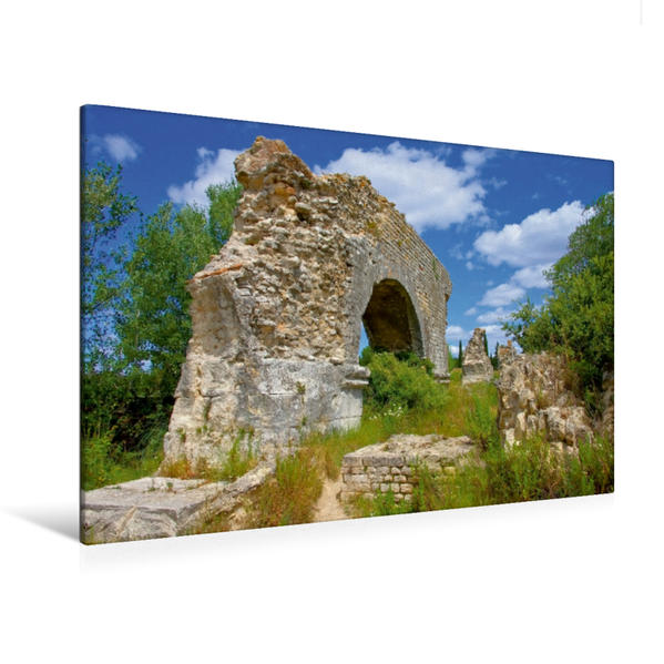 Premium Textil-Leinwand 120 cm x 80 cm quer, Aquäduktruine | Wandbild, Bild auf Keilrahmen, Fertigbild auf echter Leinwand, Leinwanddruck - Coverbild
