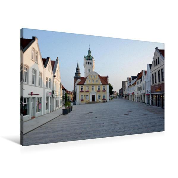 Premium Textil-Leinwand 90 cm x 60 cm quer, Rathaus & Marktplatz - Verden/Aller   Wandbild, Bild auf Keilrahmen, Fertigbild auf echter Leinwand, Leinwanddruck - Coverbild
