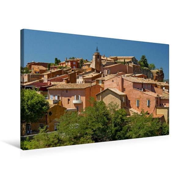 Premium Textil-Leinwand 75 cm x 50 cm quer, Roussillon – die Ockerstadt der Provence | Wandbild, Bild auf Keilrahmen, Fertigbild auf echter Leinwand, Leinwanddruck - Coverbild