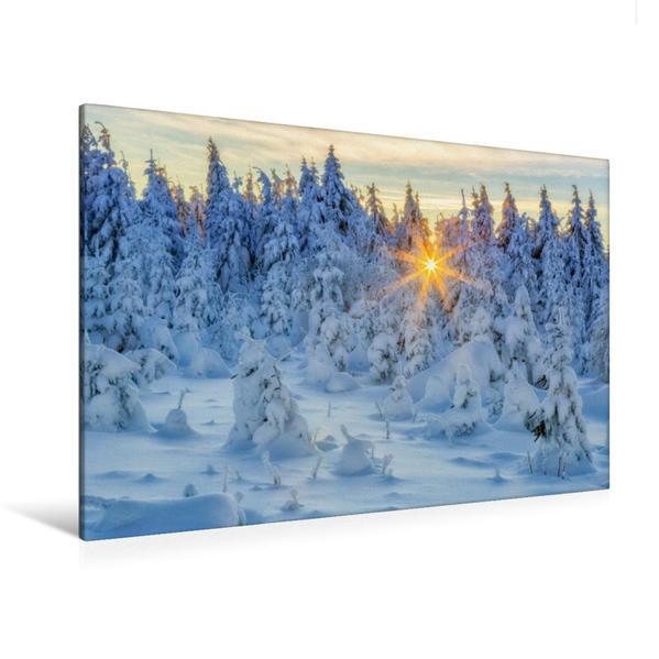 Premium Textil-Leinwand 120 cm x 80 cm quer, Winter im Erzgebirge | Wandbild, Bild auf Keilrahmen, Fertigbild auf echter Leinwand, Leinwanddruck - Coverbild