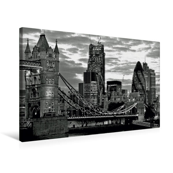 Premium Textil-Leinwand 75 cm x 50 cm quer, Tower Bridge und The Gherkin in der Dämmerung | Wandbild, Bild auf Keilrahmen, Fertigbild auf echter Leinwand, Leinwanddruck - Coverbild
