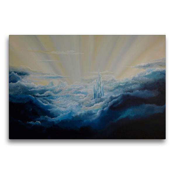 Premium Textil-Leinwand 75 cm x 50 cm quer, Hoch oben in den Wolken | Wandbild, Bild auf Keilrahmen, Fertigbild auf echter Leinwand, Leinwanddruck - Coverbild